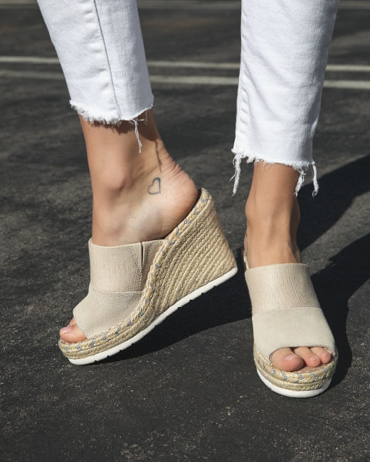 Natural Monica Mule Wedge Heels shown.