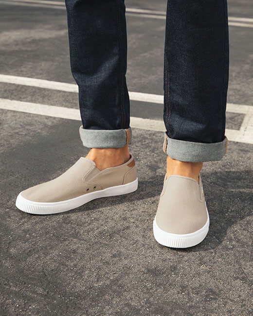 Oxford tan Baja Slip Ons shown.