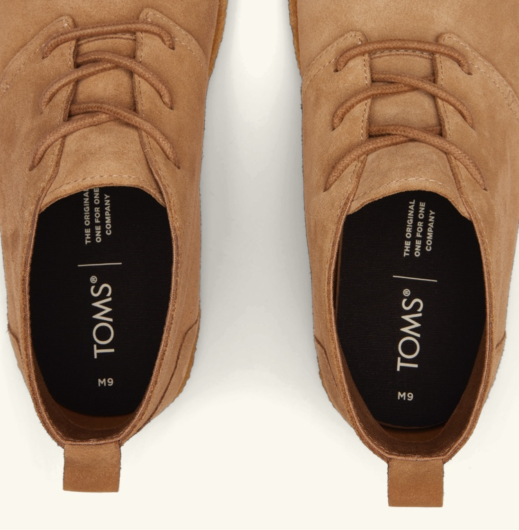 Close up top view of Fremont Boot in Toffee Suede.