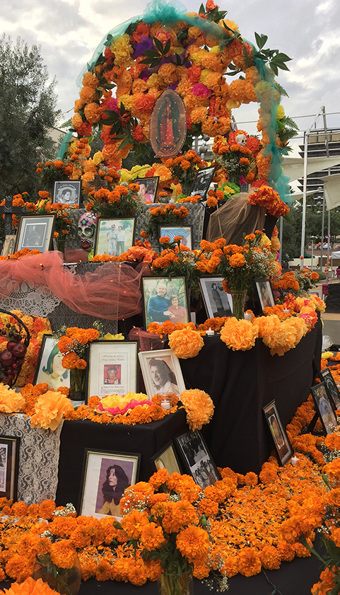 An altar decorated with flowers. This is just an image.