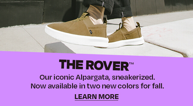 The Rover (trademark). Our iconic Alpargata—sneakerized. Now available in two new colors for fall.