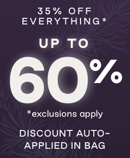 Text: 35% off everything asterisk. Up to 60% off. Asterisk exclusions apply. Discount auto-applied in bag.
