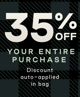 Text: 35% off your entire purchase. Discount auto-applied in bag.