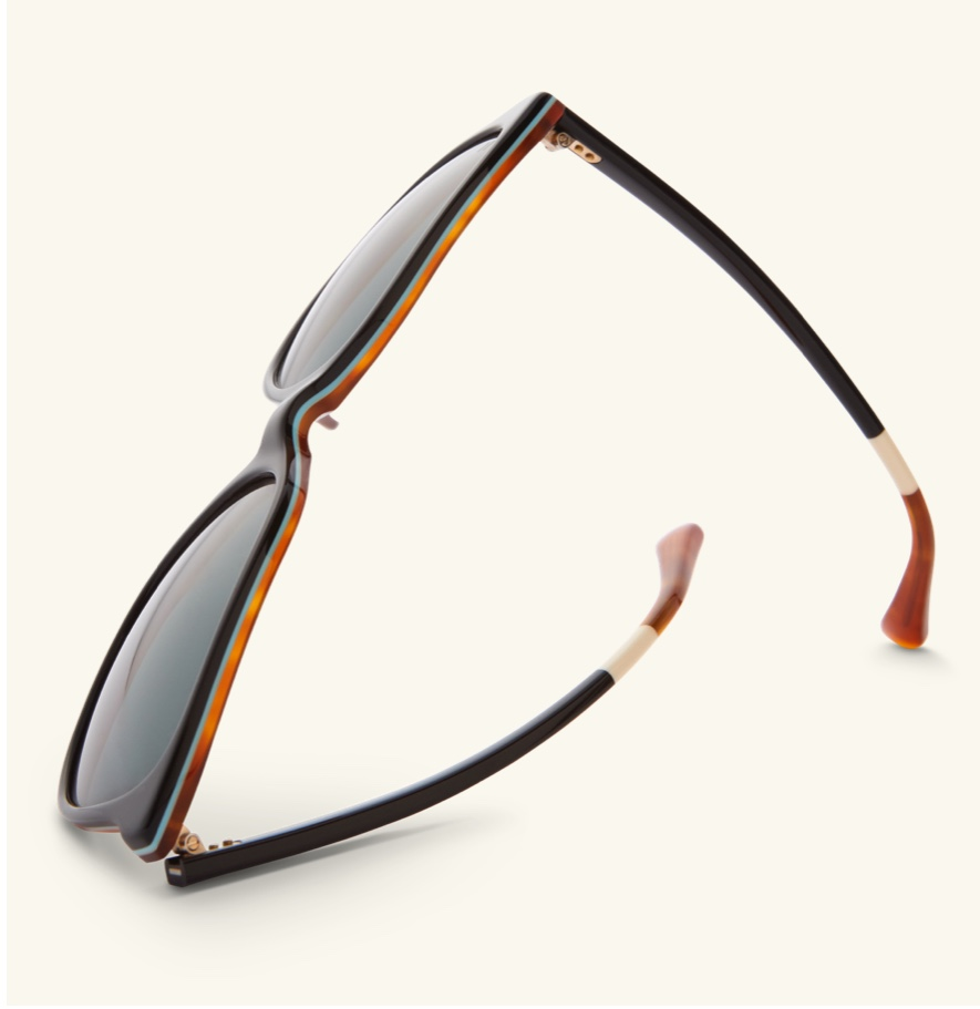 Top view of sunglasses frame.