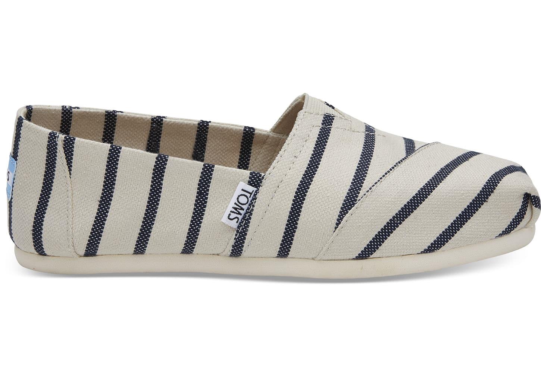 toms Wit blauw Gestreepte Riviera Classic Alpargatas Voor Dames Espadrilles Navy Stripe