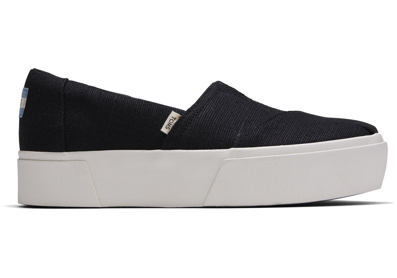 toms Zwarte Platform Alpargata Boardwalk Instappers voor Dames Black