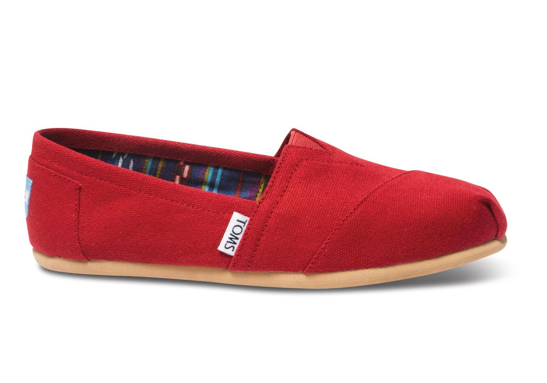 toms Classics damesschoen van canvas rood Espadrilles Red