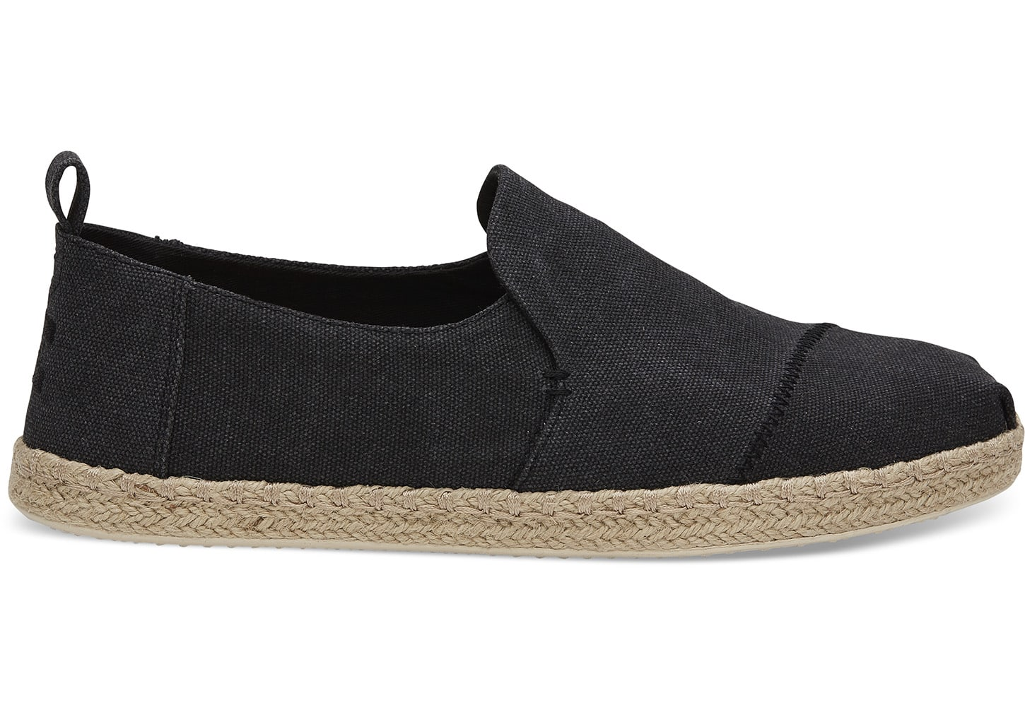 toms Zwarte Washed Canvas Deconstructed Alpargatas Espadrilles Voor Heren
