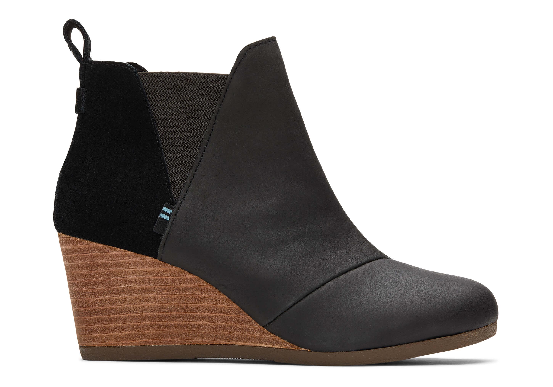 toms Zwart Leer en Suede Kelsey Booties Voor Dames Laarzen Black Leather